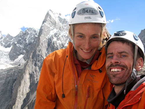 Anne & John on the summit of Zang Brakk after their new route success, with Shingu Charpa behind, 48 kb