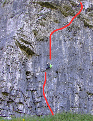 Steve McClure working a new line on the North Buttress of Kilnsey: NOW CLIMBED, 87 kb