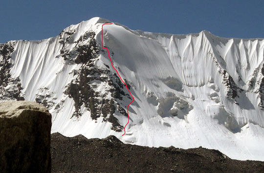 Yilpiz (5313m) rises from the Kuksay Glacier, China, 53 kb