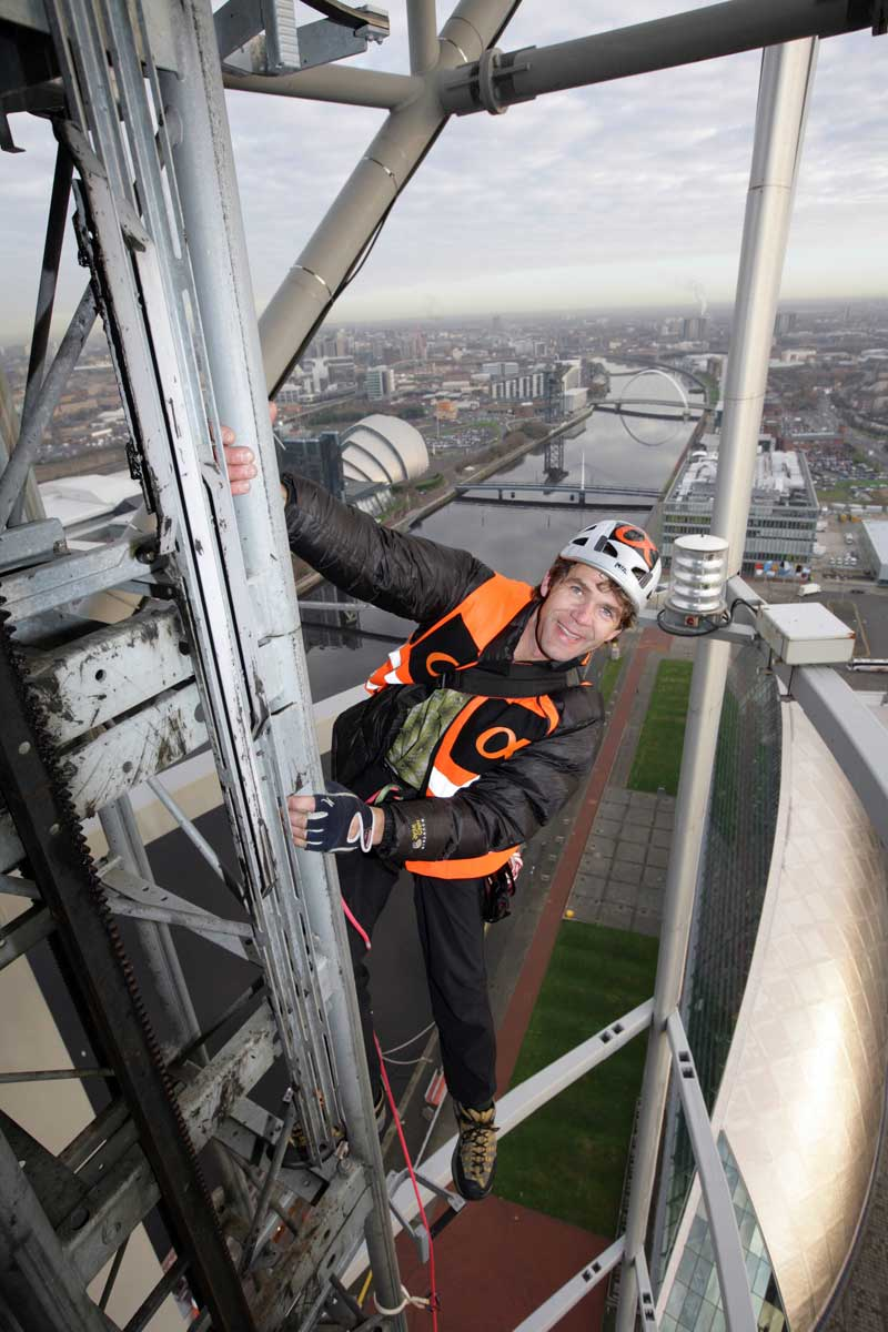 Mike Robertson climbing the 127m tall Glasgow Tower, 107 kb