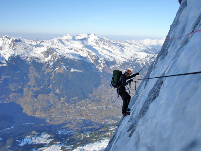 Sir Ranulph FIennes being guided by Kenton Cool on the Hinterstoisser Traverse, North Face of the Eiger, 80 kb