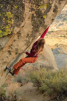 Lisa Rands Climbs the Mandala V12, Bishop, 40 kb