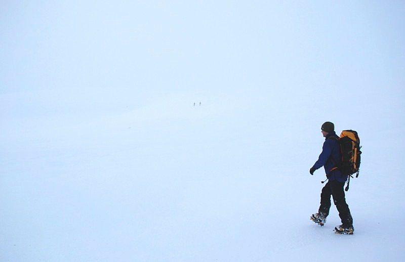 How is your navigation? Brian in a whiteout walking towards the Shelterstone., 52 kb