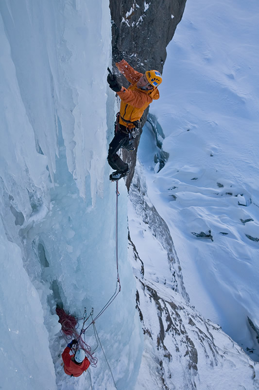 On the first pitch of Nuit Blanche (WI6), Argentiere Ice falls, 115 kb