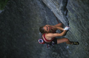 Beth Rodden on Phoenix (5.13a), a quarter-mile downhill from her new standard-setting trad climb, Meltdown, 18 kb