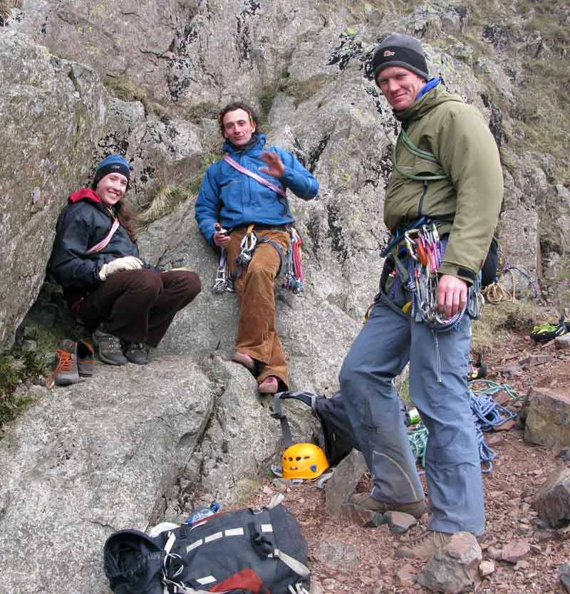 Bridget, Dave and Adam after a good day at Tophet Wall, Great Gable., 80 kb