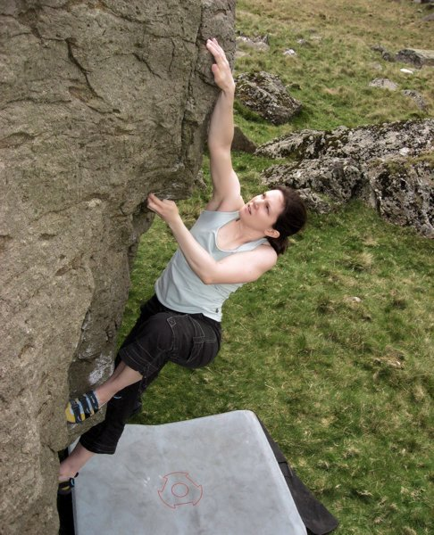 Jenn on Gwion's Flake, Cwm Dyli, 95 kb
