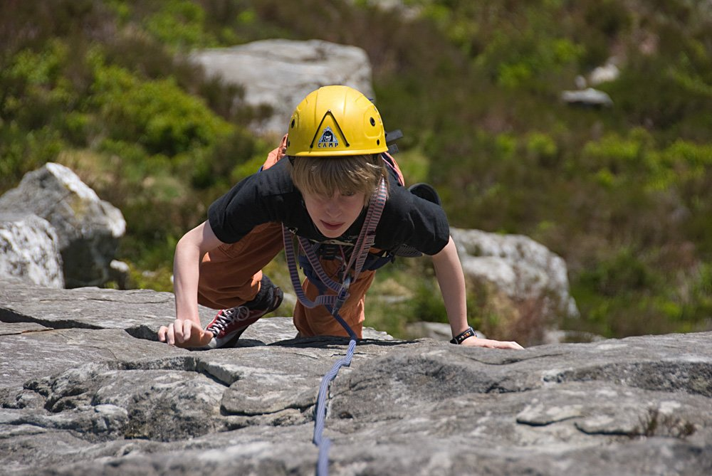 Sam James (11) tackling his first multi-pitch route - Left Edge (VDiff) on Carnedd y Filiast., 142 kb