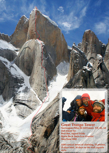 Norwegian Buttress (VII 5.10+ A4) on Great Trango Tower in Pakistan, 73 kb