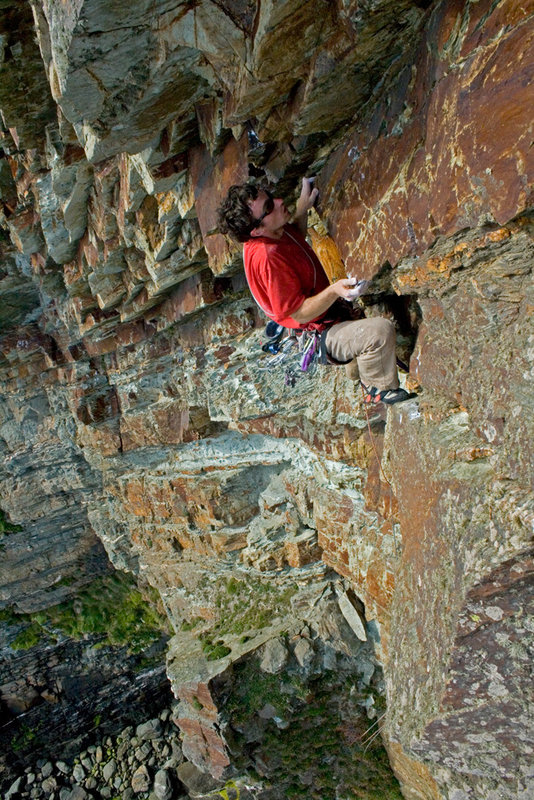 James McHaffie onsighting Isis is Angry (E7), on Yellow Walls, Gogarth, 189 kb