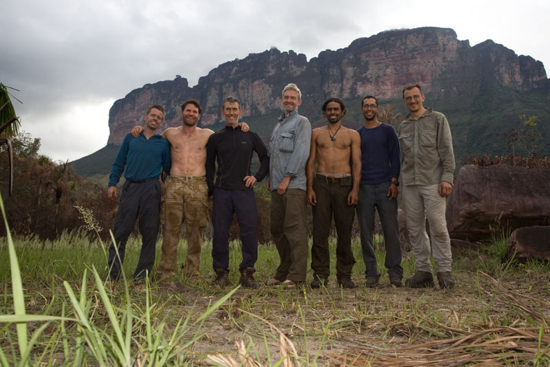 me (left) and the team beneath Upuigma after the successful climb, 115 kb