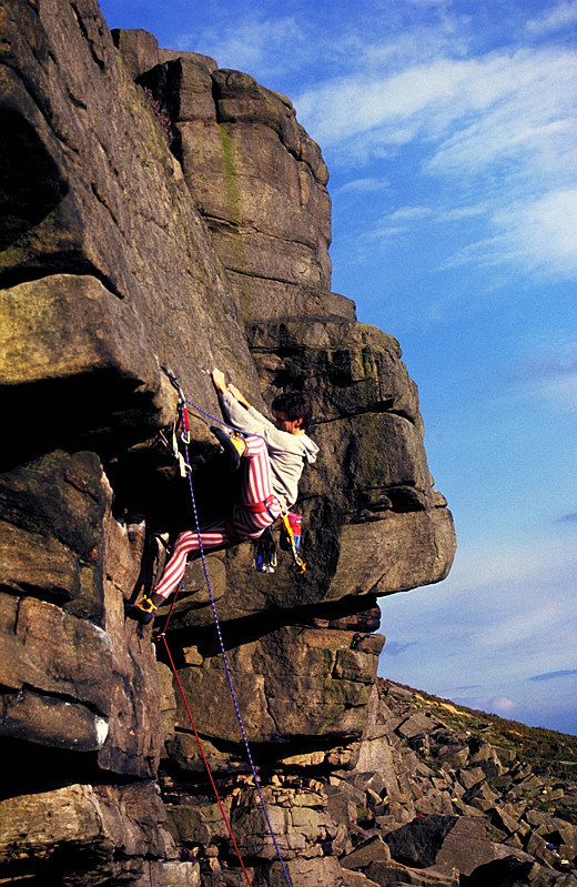 Keith Sharples on Paranoid (nice tights Keith!) - Stanage, 208 kb