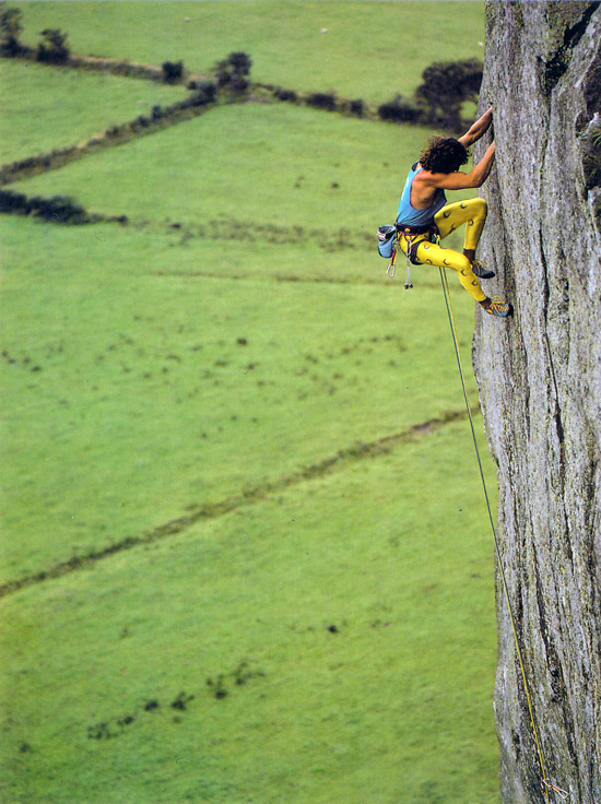 Stefan Glowacz on the first onsight of Strawberries, Tremadog, 146 kb
