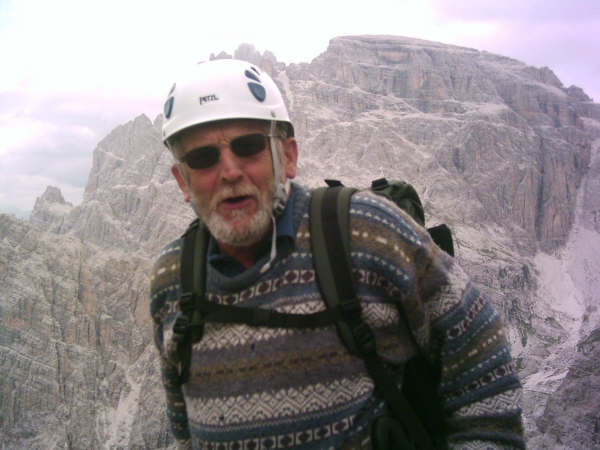 Geoff Grandison from Torre Toblino (2617m) after climbing up by Via Ferrata Delle Scalette., 32 kb
