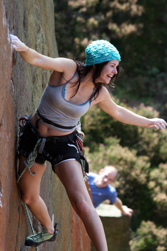 Emma Twyford enjoying herself on London Wall E5 6a, Millstone 4, 171 kb