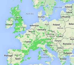 Map of world climbing locations