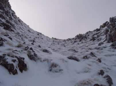 [The Grade I gully to the right of Sron na Lairig, 2 k