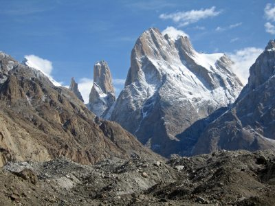 Trango Towers from the Baltoro Glacier, 4 kb