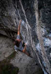 Ryan Pasquill attempting Evolution (F8c/+) at Raven Tor, prior to his successful redpoint., 4 kb