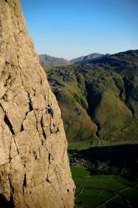 Evening Light on Gimmer. Sean B sneaks one last route in.
