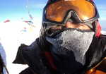 """On the summit of Denali (6194m) on 24 June 2010 at 11:00pm after soloing the """"Cassin"""" route."""