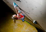 British climber Shauna Coxsey fighting her way to 8th place in the Sheffield world cup 2011, 3 kb