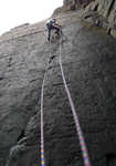 Jack Geldard making the first ascent of The Bigger Bang, HXS 6c, Craig Dorys., 3 kb