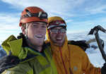 Hamish Dunn (left) and Tom Ripley on the summit of Chichicapac, 4 kb