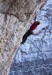 Jonathan Siegrist on the first crux of Le Reve, 9a/+, Arrow Canyon, Nevada, 5 kb