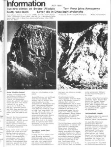 Report of first ascent of Strone Ulladale