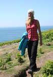 Sarah Stirling testing the Patagonia Simple Guide Pants in Pembrokeshire, 4 kb