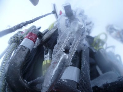 [The ice building up on my kit after topping out into a blizzard on the Cairngorm plateau., 2 kb]