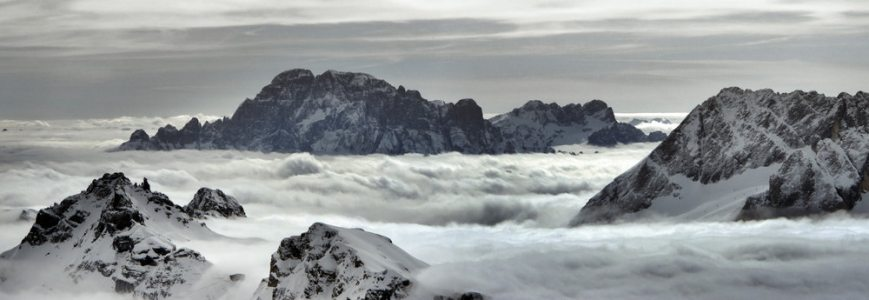 Up above the clouds...Portavescovo ridge, Monte Civetta and Piz Serauta cloud inversion.