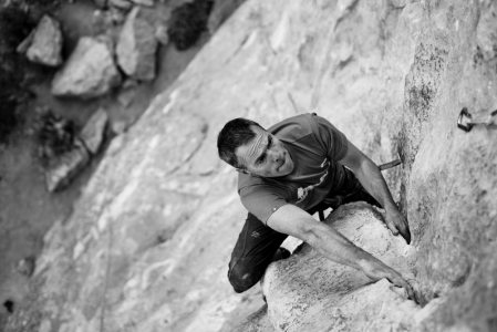 Stevie cruising the Crux moves on Bolas Chinas