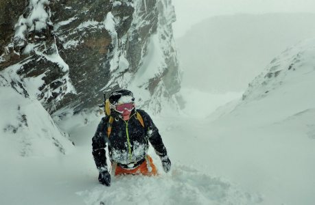 Wading through deep powder on Raeburn's gully