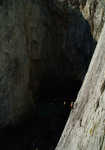 [Climber on first belay of Concrete Chimney, Wen Zawn, Gogarth, 1 kb]