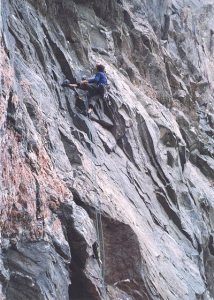 On the first pitch of The Scoop (E6 6b), Sron Ulladale