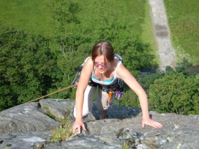 [Topping out on Brown Slabs Face VD* at Shepherd's Crag, 3 kb]