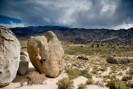 Approaching Storm: TimS Searches for Soul Slinger V9.  Owens River Valley, California.