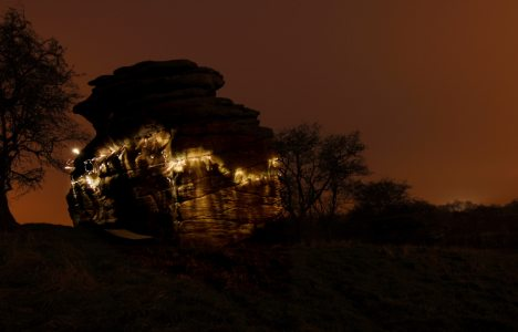 Headtorch bouldering on grit. Me doing Rock Around The Block (6a) at Spofforth, Yorkshire