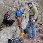 [Bridget, Dave and Adam after a good day at Tophet Wall, Great Gable., 4 kb]