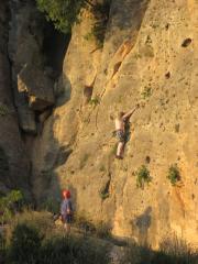 Belaying Ash near the wasp belay at Montessa