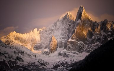 Golden Sundown on Les Dru, Chamonix Valley
