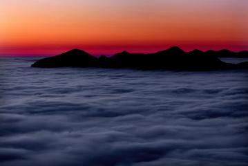 Sunset +2h40m.  Quinag and Foinaven from Suilven.