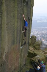Ryan Pasquill on the wall to the left of The New Statesman at Ilkley, Yorkshire
