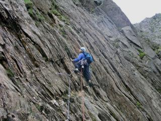 Alison leads 'The Red Wall',Lliwedd East Buttress