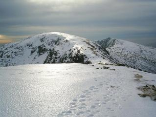 Icy snow. Brim Fell and Dow Crag from Little How Crag.