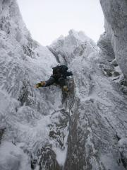 Karl leading mixed chimney part of pitch 2