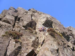 Me starting to climb Harrow Buttress (Grey Crag)