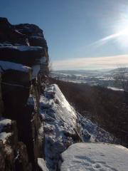 Less-than-perfect conditions for doing Three Pebble Slab (E1 5a), Froggatt